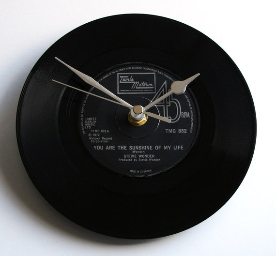 """Stevie Wonder Vinyl Record CLOCK from recycled 7"""" single """"You Are The Sunshine of My LIfe"""" Romantic gift wedding anniversary birthday, etc"""