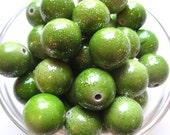 10pcs Green Glitter Bead, 20mm Glitter Bubblegum Beads, Olive Green Gumball Beads, Acrylic Bead, Plastic Bead, Necklace Bead, Round Bead