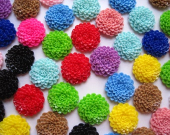 24mm Resin Flower Cabochons / 10 pcs Mixed Lot Resin Dahlias Mum Flowers.... Perfect for Bobby Pins, Pendants and More
