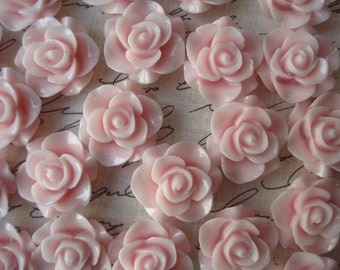 Resin Rose Flower, 10 pcs Sweet Pink Resin Flower Cabochon, Perfect for Bobby Pins, Rings, Earrings