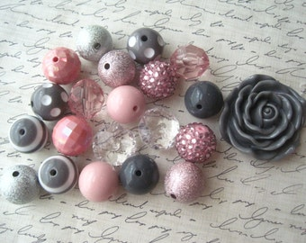 Bubblegum Bead Necklace Kit, Pink and Gray Chunky Gumball Bead Kit, Hardware Included, DIY Necklaces, Fun Kids Project