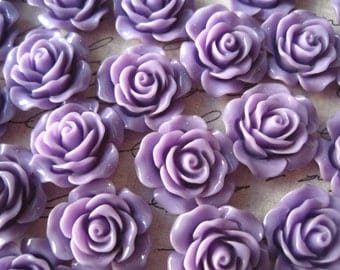Purple Roses, 6 pcs 20mm Purple Resin Flower Cabochon, Perfect for Bobby Pins, Rings, Earrings