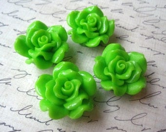 Flower Bead, 24mm Green Flower Focal Beads, Chunky Flower Bead, Necklace Beads, Acrylic Beads