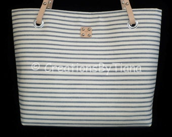 Ticking Bag - Purse - Bags - Stripes - Nautical - Canvas Bags - Shoulder Bag - Purse with leather handles - handmade