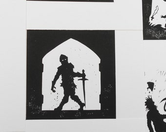 Zombie Knight Enters The Church -  Silhouette Linocut Print