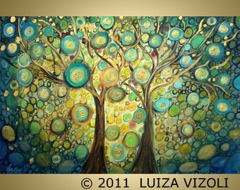 Giclee  Print on Canvas Modern Abstract Trees Art Print of Original Painting by Luiza Vizoli, Turquoise Nights