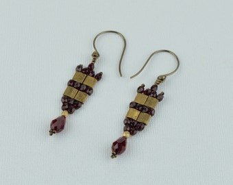 Bronze Tila and garnet fire polished beads earrings. (E100003)