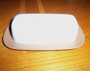 Vintage TEXAS WARE Melamine MELMAC brown white Butter Dish with Lid Retro