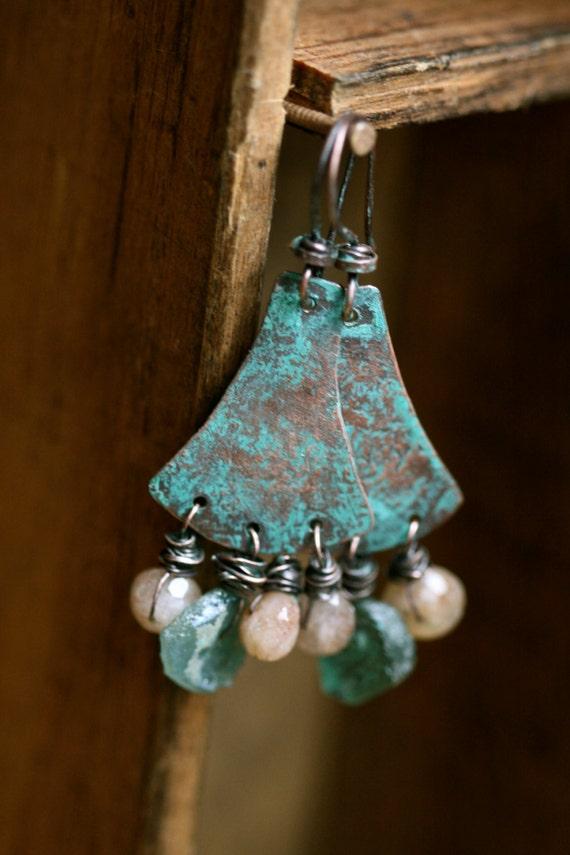 Guijarros earrings - Rustic, Roman Glass,Sunstones,blue,green water colors,organic earthy,copper,primitive,assemblage,earthy,tribal,leather