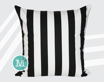 Black & White Stripe Pillow Cover - 18 x 18, 20 x 20 and More Sizes - Zipper Closure - sc1820