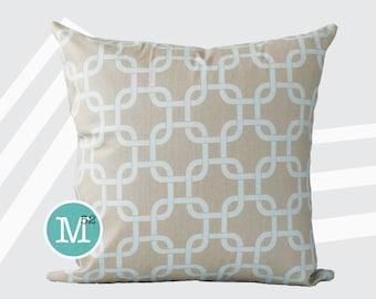Powder Blue & Taupe Lattice Trellis Gotcha Pillow Cover Sham - 20 x 20 and More Sizes - Zipper Closure