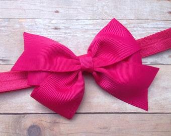 Fuchsia baby headband - baby headbands, baby bow headband, newborn headband, pink baby headband, pink bow headband, bow headband