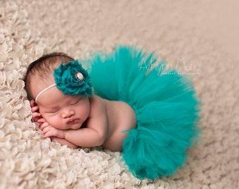 Teal tutu set, newborn tutu, newborn tutu set, baby tutu set, Baby tutu, tutu set, newborn photo prop, you pick color tutu, photo prop, baby