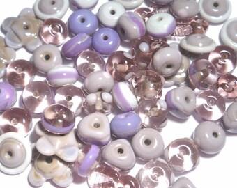 PURPLE MIX - Handmade Glass Lampwork Beads - Purple Lilac Mauve Violet Lavender - Set of 20