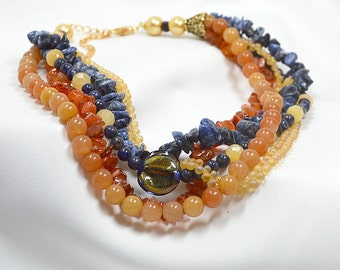 Chunky semi precious gemstone necklace Multi strand choker torsade layered necklace Blue lapis orange carnelian stone jewelry for office