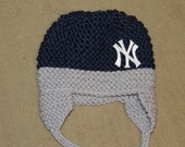 Yankees Knit Stocking Hat; Gray and Navy Blue knit