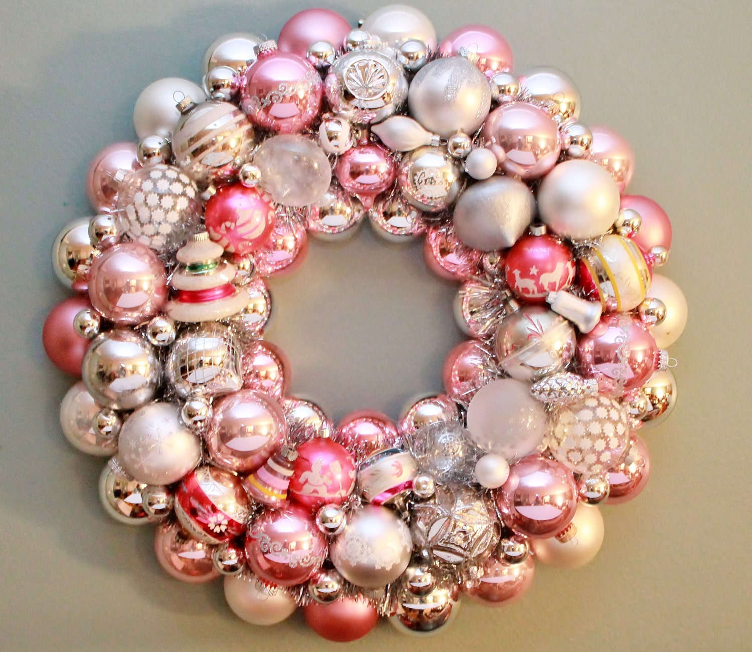 Pink Christmas Wreath Vintage Ornaments