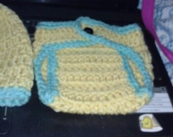 yellow/green hat/diaper cover set newborn to six months