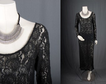 Black lace dress maxi long sleeves bohemian Gypsy Hippie Rocker women size M medium