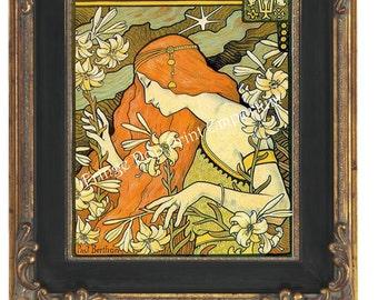 Art Nouveau Art Deco Art Print 8 x 10 - Redhead Flapper Goddess with Flowers