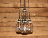 Industrial Jar Chandelier Light with Aged Cages - Mason Jar Pendant Light - Hanging Jars - Clear Quart Ball Jars