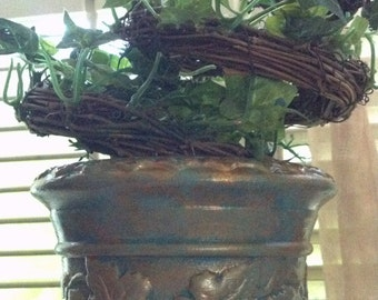 Vintage Topiary Tree with Artificial Faux Ivy Hand Painted Patina style Pot