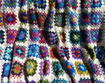 Crochet afghan crochet granny square afghan handmade blanket, queen size blanket, 60 in. x 80 in. off-white border MADE TO ORDER