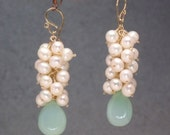 Ivory pearls sea blue chalcedony dangle cluster earrings Princess 4
