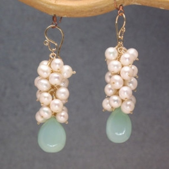 Ivory pearls sea blue chalcedony earrings Princess 4