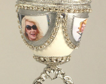Decorated Goose Egg - A Salute to Joan Rivers -   Faberge Style Egg - Jewelry Box