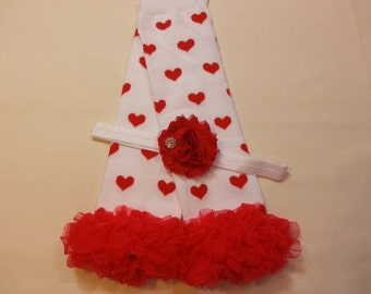 Valentine's Leg Warmer Set, Red Heart Leg Warmers, Red Ruffle Leg Warmers, Red Flower Headband, Rhinestone headband, Baby Girl Valentine Set