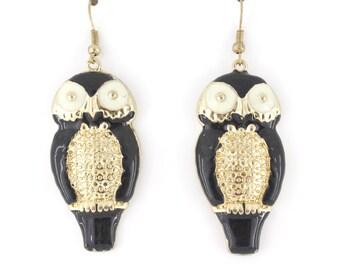 Cute Black Owl Dangle Drop Earrings,E3