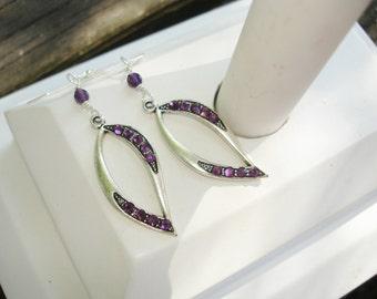 Purple earrings, amethyst earrings, silver earrings, gift for her, birthday gift ideas, birthstone earrings, oval, February birthday gift
