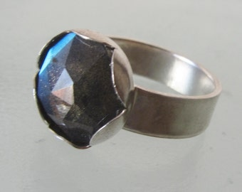3 Days Sale - Labradorite ring - Sterling Silver stone Ring - Size 6 1/2