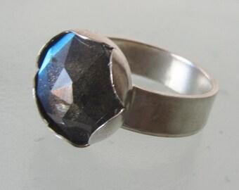 Labradorite ring - Sterling Silver stone Ring - Size 6 1/2
