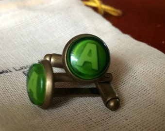 Xbox Button cufflinks A Green button handmade handcrafted xbox 360 video games ear ring studs call of duty cuff link oculus rift