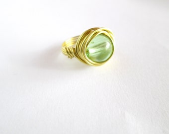 Green Ring, Wire Wrapped Ring, Wire Gift for Her, Ring for a Girlfriend, Ring Green Stone, Gift for Women, Birthday Gift for Her, Ring Women