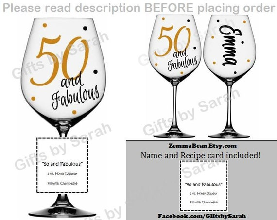 Fifty And Fabulous Wine Glass Name Included By Zemmabean