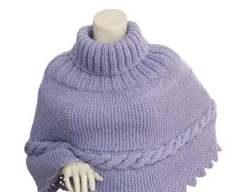 Hand knit poncho,purple Poncho,women poncho,valentine's gift,knit poncho,size M-L poncho,capalet,cable knit poncho