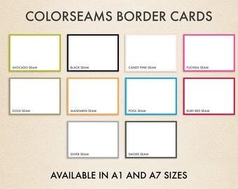 A1 Colorseams Border Flat Notecards (3 1/2 x 4 7/8) - Pick A Color - (50 Qty.)