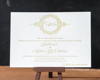 Chantilly Monogram Letterpress Invitation Suite DEPOSIT