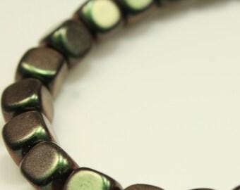 Bead, Preciosa® Czech pressed glass, metallic green, 7x6mm cube. Qty 20, Czech Glass Bead