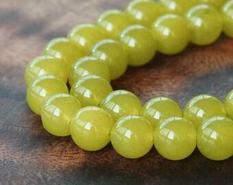 Dyed Jade Beads, Semi-Transparent Mustard, 8mm Round - 15 Inch Strand - eSJR-Y15-8