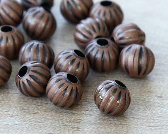 Antique Copper Beads, 8mm Corrugated Round - 50 pcs - eCRR02AC-8