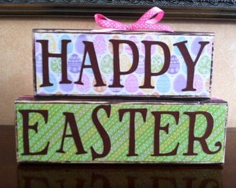 Wood Happy Easter Block Stacker  - Seasonal/Spring Home Decor for Easter