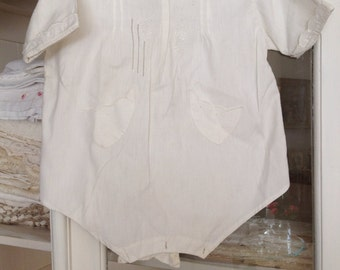 Vintage 1940s white cotton handmade rare  baby jumper white antique baby romper beautiful embroidered white by hermina's cottage
