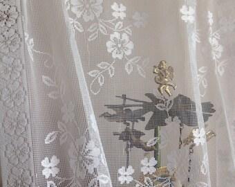 Vintage lace panels shabby chic lace curtains vintage lace white lace cottage lace curtains by herminas cottage