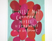"Strangers on the Internet Inspirational Quote Print: 8""x10"" Wall Art Hand-Lettered Typography"