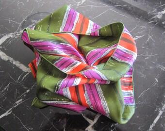 Silk scarf, bright stripes, 1970s fashion, long striped scarf, vintage scarves, oblong silk scarf, boho scarf