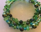 Mixed Green Beaded Wrap Bracelet